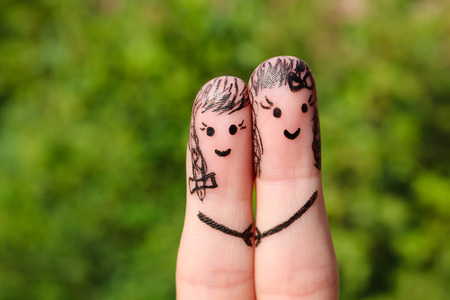 lesbienne: Art Finger. womans tenant par la main. Banque d'images