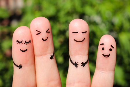 good mood: Finger art of friends. The concept of a group of people laughing.