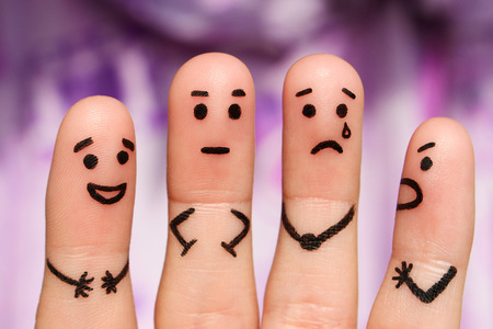 choleric: Finger art of people. The concept of a group of people with different personalities. Stock Photo