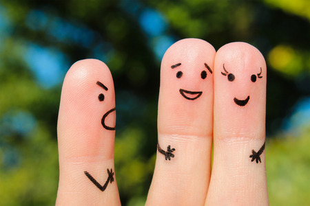 disobedience: Finger art of people. The concept of a man scolds a couple, and they laugh. Stock Photo