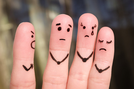 Finger art of people. The concept of a man scolds of people, and they upset. The boss berates his subordinates at work.