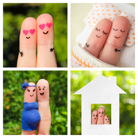 Collage finger art of a happy couple. The different stages of the life of a couple: dating, love, pregnancy, birth of a child. Banco de Imagens