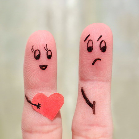 hurt: Finger art of a couple. The concept is not shared love.