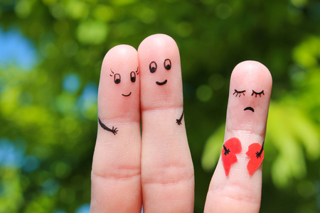 paramour: Finger art of Happy couple. Happy couple hugging. Other girl is holding a broken heart.