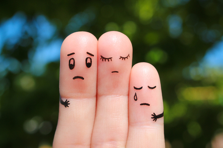 frustration: Finger art of displeased family. Concept of solution to problems, support in difficult situations. Stock Photo
