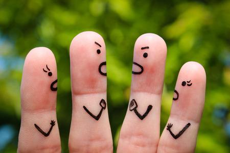 Finger art of people during quarrel.