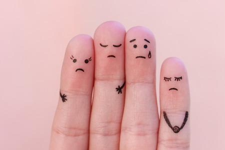 Fingers art of displeased people. Stock Photo