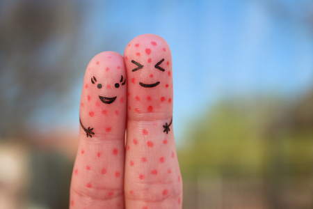 Fingers art of couple with problem skin. Stock Photo