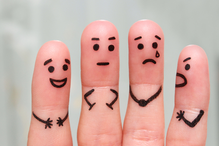 Finger art of people. The concept of a group of people with different personalities. Stock Photo