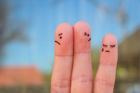 Fingers art of couple after an argument. Idea of ??family during conflict. Concept of parents quarrel, child was upset. Foto de archivo