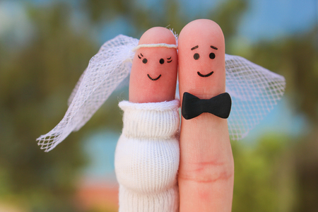 Fingers art of a Happy couple. Concept of shotgun wedding, woman is pregnant and man needs to get married. Stock fotó - 81429273