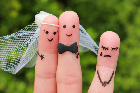 coercion: Finger art of Happy couple to get married. Other woman upset.