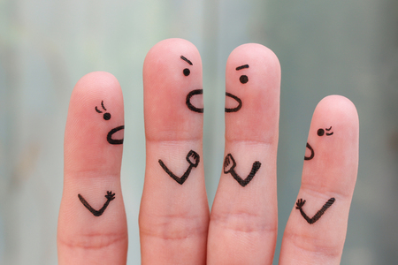 Fingers art of people during quarrel.