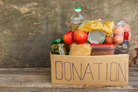Donation box with food.