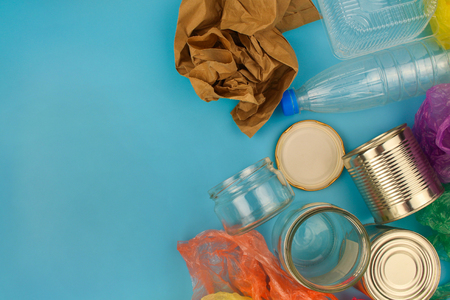 Closeup of waste on blue background. Top view. Stock Photo