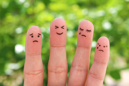 Fingers art of people. Pessimists and optimist.