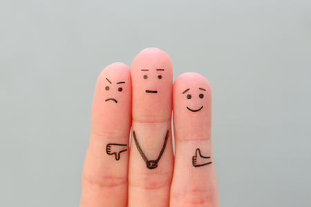 Fingers art of people. Concept of positive and negative emotions. Banco de Imagens