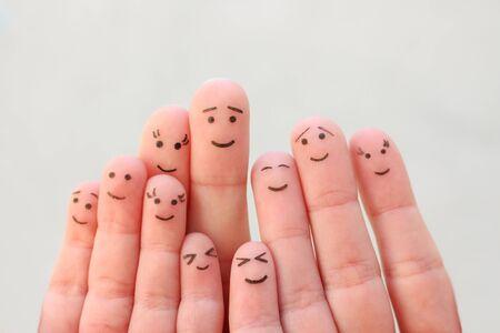 Fingers art of large family.