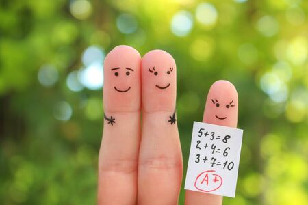 Fingers art of happy family. Concept of child got good grade. Banco de Imagens - 131144944