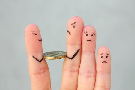 Dita arte della famiglia tristezza. L'uomo restituisce i soldi.
