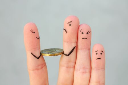 Fingers art of sadness family. Man returns money.