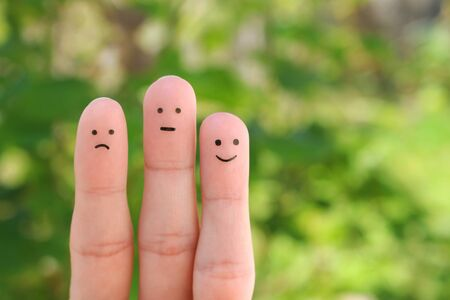 Fingers art of people. Concept of positive and negative emotions. Banco de Imagens - 131144989