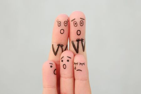 Fingers art of family during quarrel. Concept children are crying.