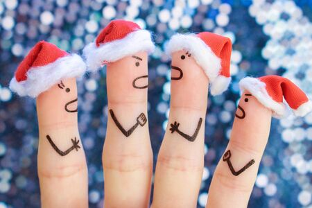 Fingers art of of people during quarrel in New Year.  Stock Photo