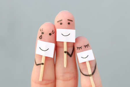 Fingers art of family. Concept of people hiding emotions. Stok Fotoğraf
