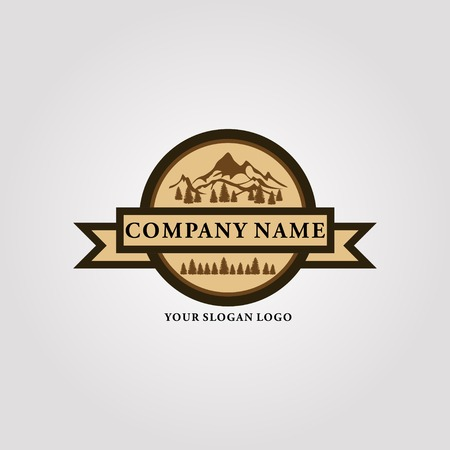 retro-style logo that gives a cool mountain feel Ilustração