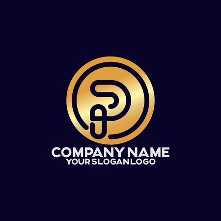 elegant company logo consisting of lines that form the letter P and lines that form a circle Illusztráció
