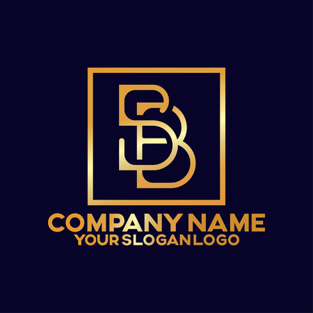 gold logo combine letter S and B in the square