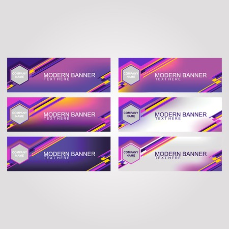 Bright Neon Color banner set with one design, designed for online needs, such as online websites, social media, and advertising. can also be printed on flayer, banners, and brochures - Vector Illusztráció