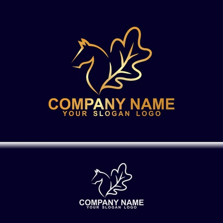 horse logo with wings from oak leaves