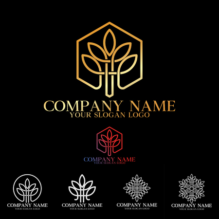 luxury company logo lines that form leaves with gold