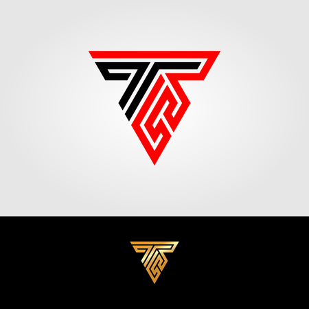 the logo letter R, and T in the form of a triangle with strong lines Ilustrace
