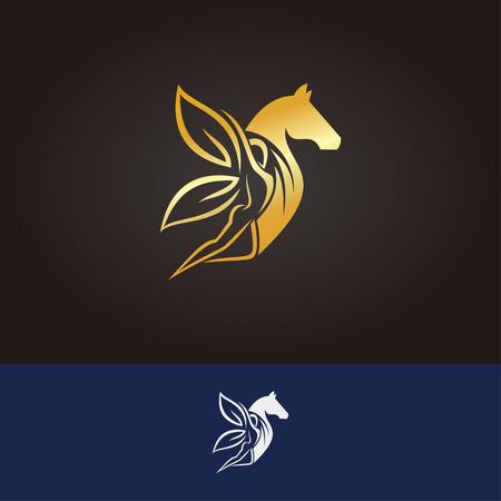 Horse logo in yoga pose Illusztráció