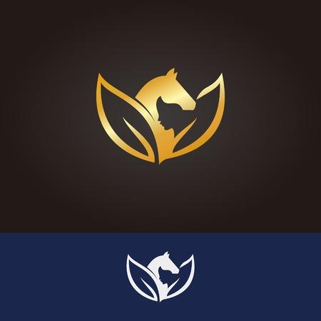 Horse logo in yoga concept Ilustrace