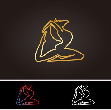 Horse logo in yoga concept Illusztráció