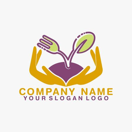with a picture of an open hand with on top carrying a spoon, fork and leaf drawing that clarifies the name of a product that provides healthy food Illusztráció