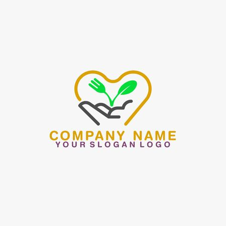 with a picture of an open hand with on top carrying a spoon, fork and leaf drawing that clarifies the name of a product that provides healthy food Ilustrace