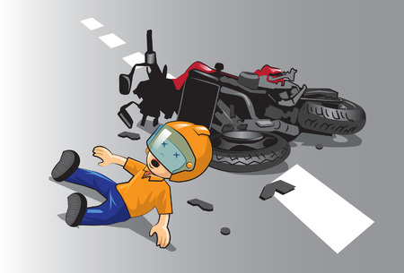 Do not let children ride a motorcycle before age enough. Stock Vector - 90508393