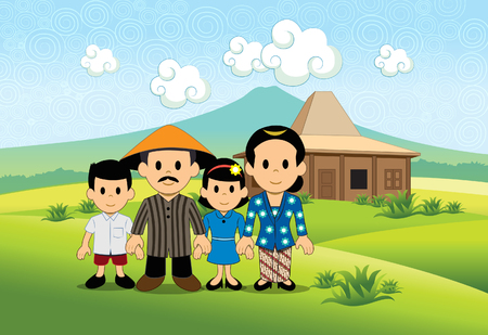 Family portrait of Javanese tribe with mountain background and verdant rice field. Illustration