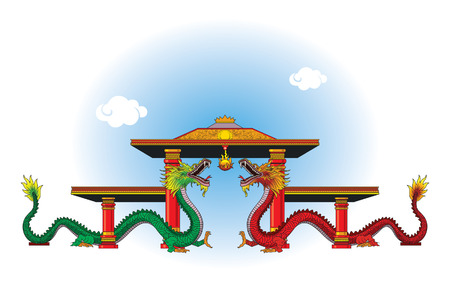 The dragon gate is a building that is the gateway of a monastery. Illustration