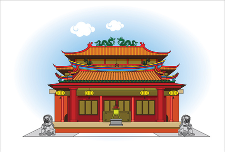 Temple of China vector illustration on white background.