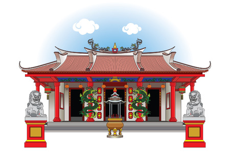 The Vihara is a Buddhist temple, it can also be called a Kuil. Illustration