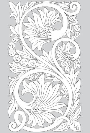 Motif Jepara line art illustration on gray background.