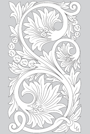 Motif Jepara line art illustration on gray background.