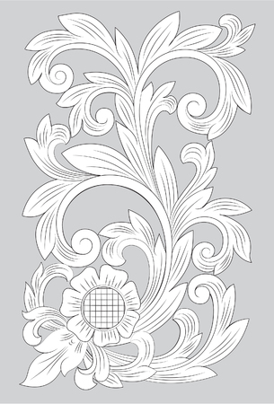Motif Madura line art illustration on gray background. Ilustração