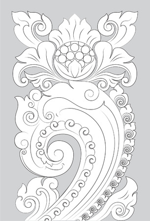 Motif Majapahit line art illustration on gray background.